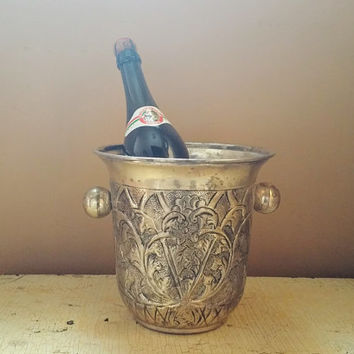 Vintage Silverplate Repousse Champagne Bucket