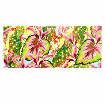 "Mmartabc ""Exotic Botanical Pattern"" Yellow Pink Illustration Luxe Rectangle Panel"