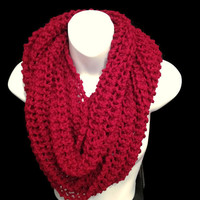 Super Chunky INFINITY SCARF, Chunky Red Scarf, Circle Cowl Knit Scarf, Winter Knit Snood, Knitted Scarf Gift For Her