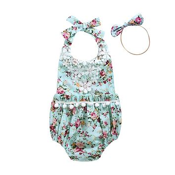 Infant Baby Girls Sleeveless Lace Floral Romper Baby Girl Cotton Clothes  New Arrival Jumpsuit Outfits Clothing For Newborns