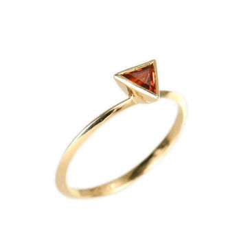 Trillion red garnet Engagement Ring.