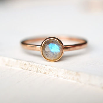 Labradorite Ring, Engagement Ring, Rose Gold Ring, Wedding Ring, Anniversary Gift, Gift Idea, Labradorite Jewelry, Gift for her, Stack Ring