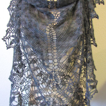 Charcoal Shawl Crochet Hand Painted 100% Baby Alpaca Yarn Handmade Versatile Lace Lightweight Wrap Scarf