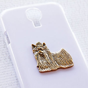 Yorkie Preppy White and Gold Samsung Galaxy S4 High Gloss Smart Phone Cover iPhone 6 Case