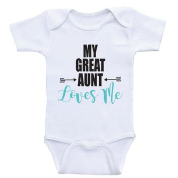 "Great Aunt Baby Onesuits ""My Great Aunt Loves Me"" Bodysuits Baby Clothes"