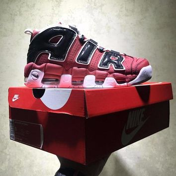 Best Online Sale Nike Air More Uptempo Retro Sport Baskerball Red Black White Sneaker