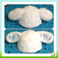 Hand Crochet Thick Snuggly Adorable Little Lamb Beanie w- Floppy Ears, cute hat- Baby Newborn Infant Toddler Beanie Photo Prop
