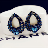 European and American High-end Boutique Earrings Unique Design Droplets Sapphire Earrings