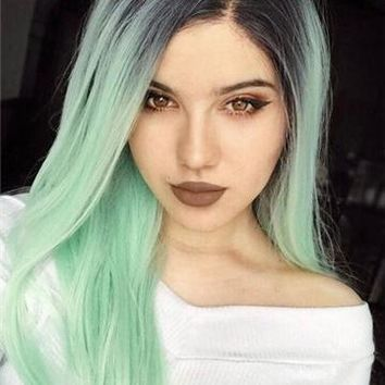 Galway Green Mint Long Synthetic Lace Front Wig