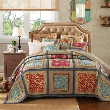 Dada Bedding Gallery of Roses Floral Bohemian Patchwork Quilted Bedspread Set (JHW-546)