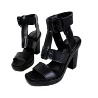 Black Thick Heel Sandals