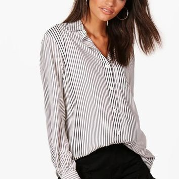 Kerry Oversized Stripe Woven Shirt | Boohoo
