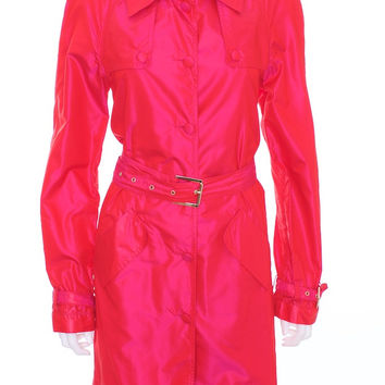 ROBERTO CAVALLI Fuchsia 100% Silk Trench Over Coat Euro Size 44