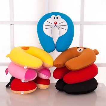 1Pcs Fashion Comfort Foam Particles U-Neck Travel Pillow Cute Cartoon Pattern Doraemon Rilakkuma Soft Nap pillow