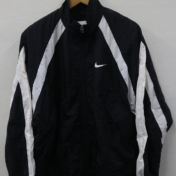 25% SALES Vintage 90's Nike Big Logo Sport Sweater Logo Windbreaker Trainer Black Stripes Black Jacket Windbreaker