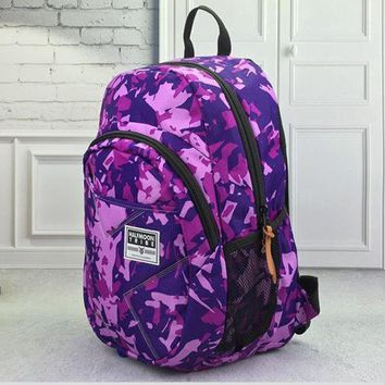 LMFON1O Day First Large Denim Canvas Backpack School Bag Travel Bag