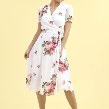 The Pretty Dress Company Vintage Lamour Floral Chiffon Wrap Dress