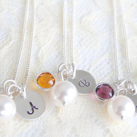 Set of 3 Bridesmaid Necklaces Personalized Bridesmaid Gifts  Pearl Necklace Birthstone Necklace Personalized intial Necklace