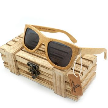Bobobird Unisex Retro Bamboo Wooden Sunglasses UV Protection Polarized Eyewear Lenses With Vintage Wooden Box As Gift