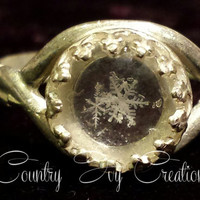 Sterling Silver plated Preserved Real Snowflake Ring, real preserved snowflake, Frozen