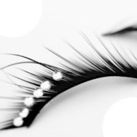 False black 6 stud diamante eyelashes (EY13) - Burlesque eyelashes - Fashion