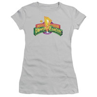POWER RANGERS/MMPR LOGO-S/S JUNIOR SHEER-SILVER