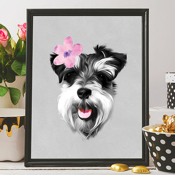 Free to Dream dog printable art, schnauzer wall art, dog print, dog wall art, animals printable art, printable art, home decor print, poster