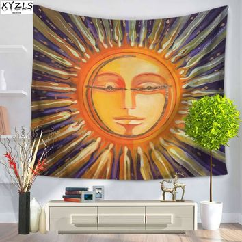 XYZLS Europe Popular Wall Tapestry Special Sun and Moon Tapestry Polyester Beach Towel Yoga Mat Sofa Cover Home Decoration