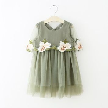 Summer Girls Dress Chiffon Princess Dresses For Girls Infant Embroidery Flower Kids Costume Party Toddler Children Clothing