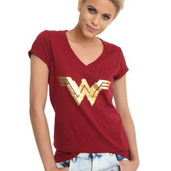 DC Comics Wonder Woman Gold Foil Logo Girls V-Neck T-Shirt