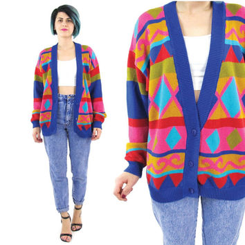 80s Cosby Cardigan Colorful Striped Cardigan Bright Graphic Sweater Slouchy Grandpa Cardigan Pattern Long Sleeve Cotton Knit Cardigan (M/L)