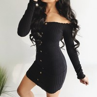 Lillian Button Dress - Black