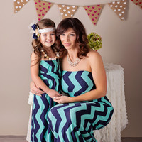 Girls Zig Zag Maxi Dress Navy and Aqua