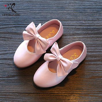 HITOMAGIC Girls Shoes With Bow Tie Kids Shoes For Girl Kids Sandals Girl Summer Leather Shoe Princess Party Children's Footwear