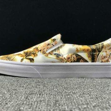 LMFON Summer Newest Vans Floral Pattern Slip on Yellow Sneaker Casual Shoes