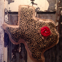 Burlap Cheetah State Hanger with Rosette