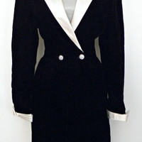 50% Off Dress SALE Vintage 70s Dress / Act II Raven Black Velvet Ivory Satin Tuxedo Wrap Holiday Cocktail Party