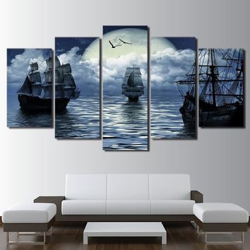 Fantasy Night Moon Sailing Ships at Sea Modern Wall Art Canvas Panel Print