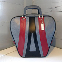 Vintage, Bowling Bag, Large, Vinyl, Gray, Maroon and Black, Retro, Bowling, Sporting Goods, Bowling Accessories, RhymeswithDaughter