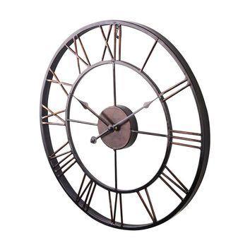Extra Large Vintage Style Statement Metal Wall Clock Country Style - Chocolate color