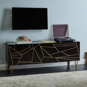 "Roar + Rabbit™ Brass Geo Inlay Media Console (68"") - Ebony"