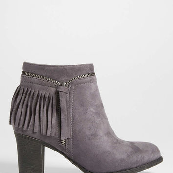Giuliana faux suede heeled bootie with zipper and fringe | maurices