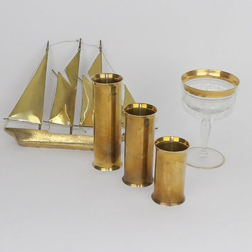 Brass Candlesticks Candel Holders Scandinavian Mid Century Danish Modern Solid Set of 3 Cylinder Centerpiece Dining Table Mantel Candelabra