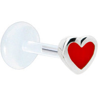 Silver 925 Red Heart Bioplast Labret | Body Candy Body Jewelry