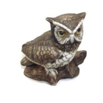 Vintage HOMCO Owl Figurine Perched on a Tree  Branch