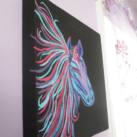 Horse Painting on Canvas, Teen Art, Girls Room Decor on 12x12 square modern canvas