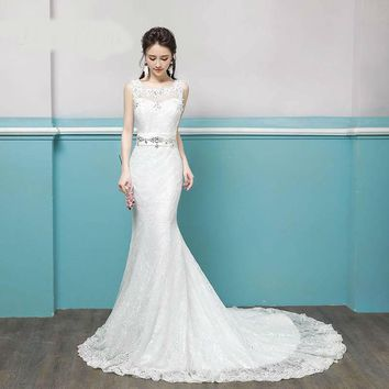 Lace Backless Mermaid Train Wedding Dresses Crystal Trailing Bride Gowns  Wedding Gown