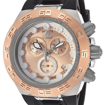 Invicta 15576 Men's Watch Subaqua Chronograph Black Silicone Rose-Tone Dial