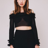 A-Line Ruffle Sleeves Cropped Top