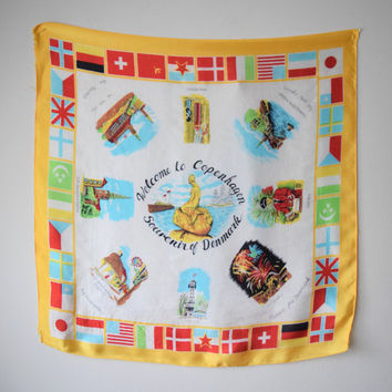 Vtg Copenhagen Denmark Souvenir Scarf // Tourist Travel Retro Kitsch // International Flag Border